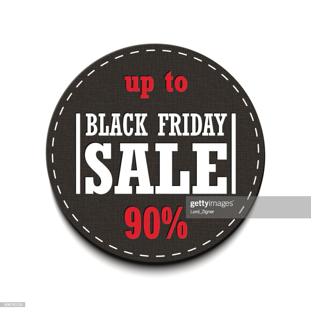 Black Friday Sale up to 90% tag isolated on a white background. Vector Illustration