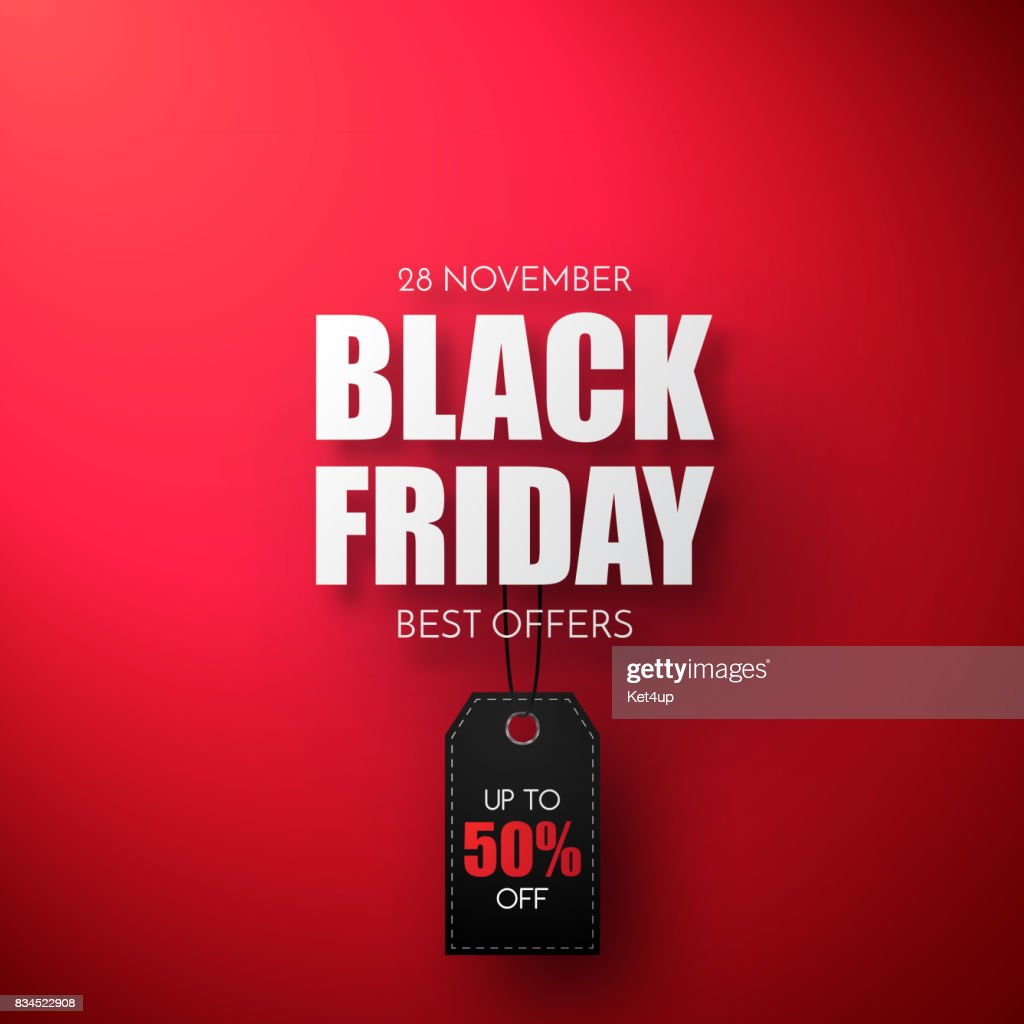 Black Friday Sale Vector Template. Sale background with black tag.
