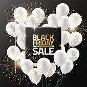 Black Friday sale white balloons for design template, Vector illustration