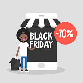 Black Friday sale. Young character holding a bunch of black shopping bags. Special offer. Online shopping. Mobile phone. Online store. Autumn sale event. Flat editable vector illustration, clip art