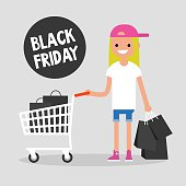 Black Friday sale. Young girl holding a bunch of black shopping bags. Special offer. Shopping cart. Big sale event. Flat editable vector illustration, clip art