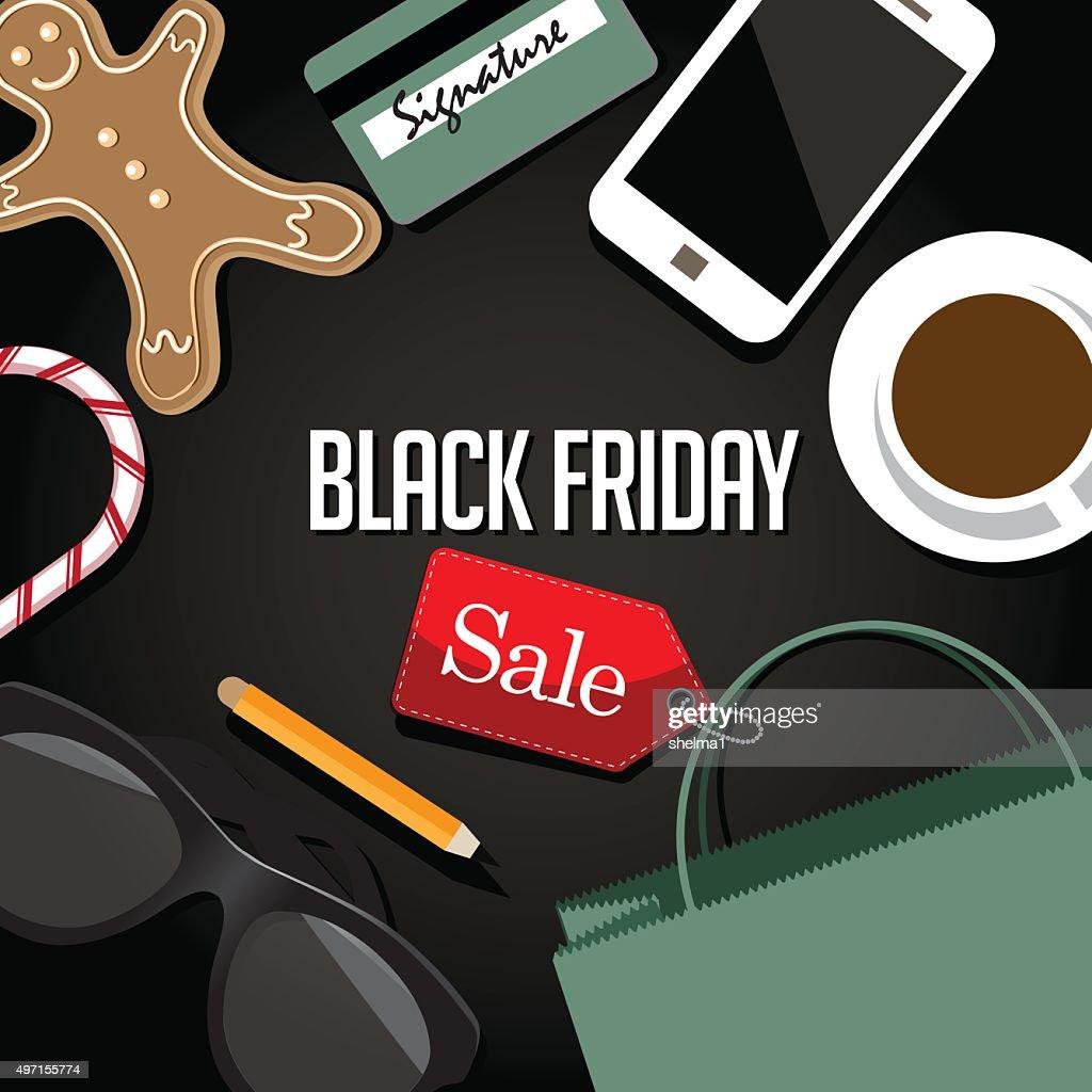 Black Friday shopping bag and sales tag flat design