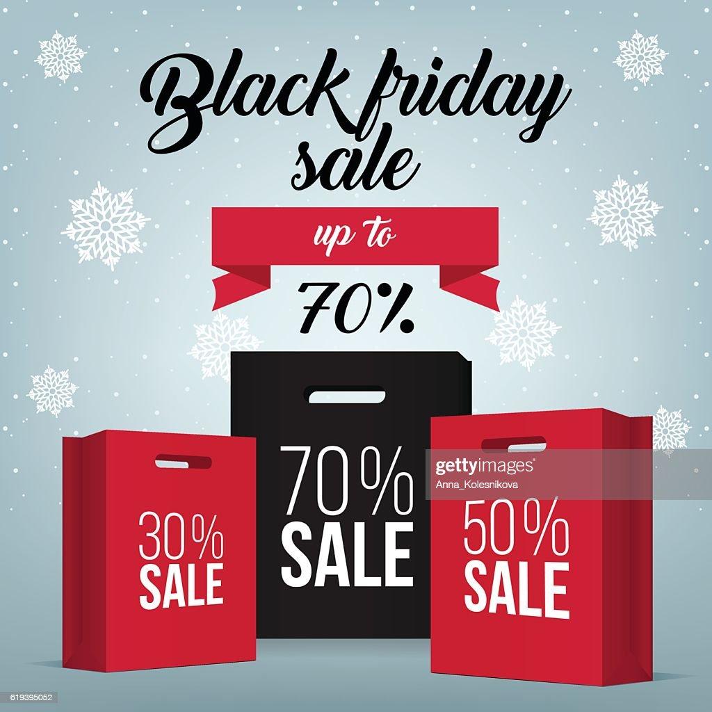 Black Friday shopping bag and sales tag marketing template.