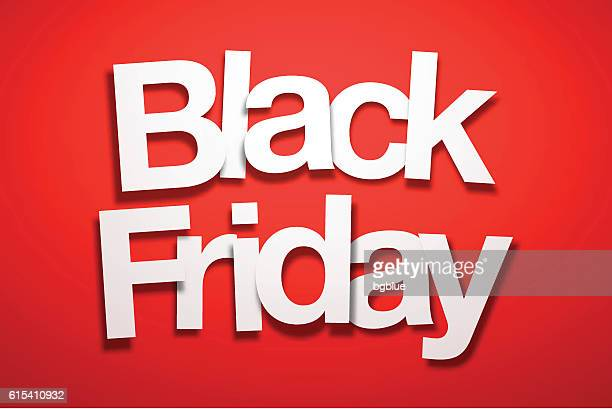 ilustraciones, imágenes clip art, dibujos animados e iconos de stock de black friday sign with red background - paper font - black friday