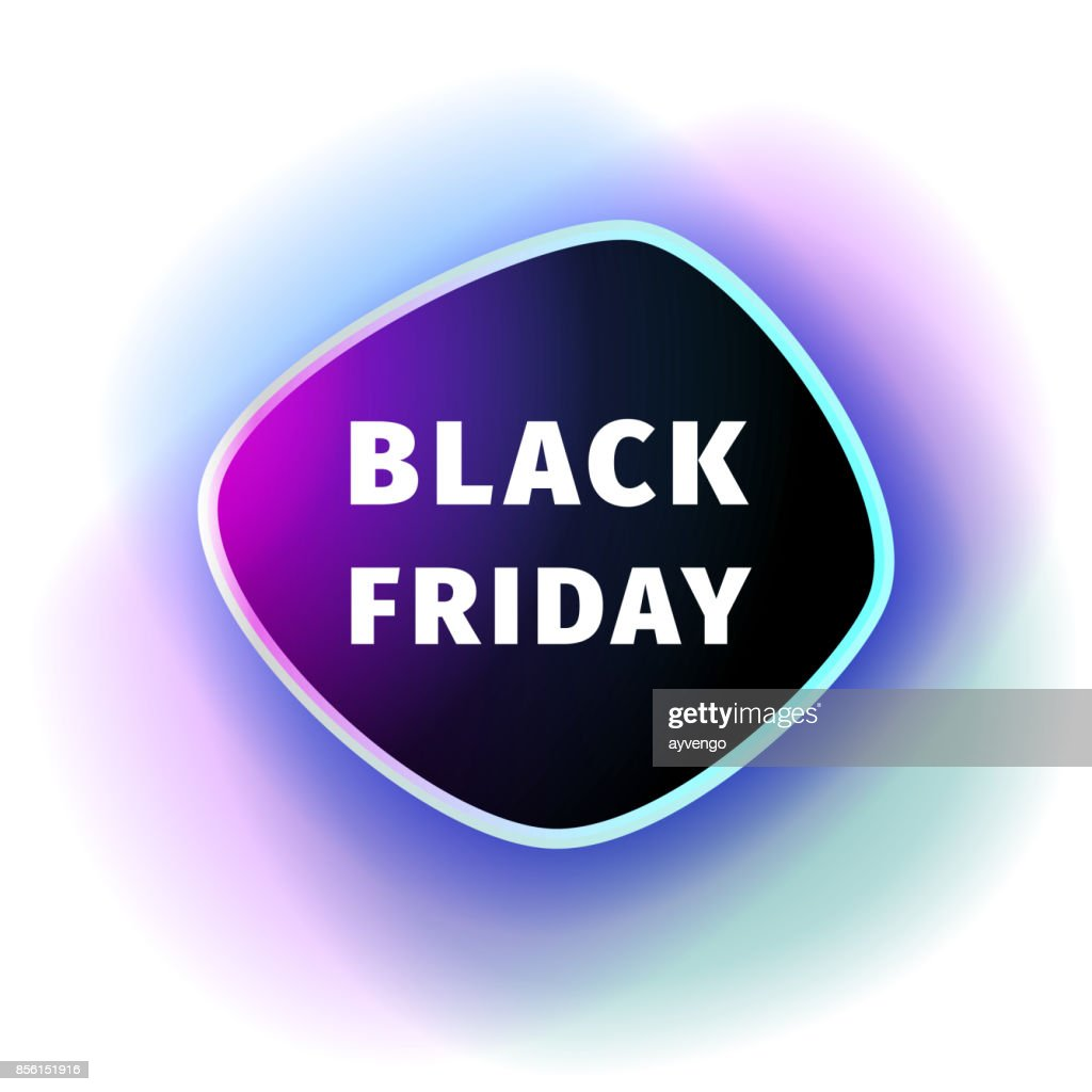 Black Friday smoothed black banner with violet blue glow