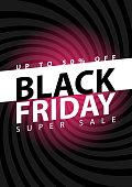 Black friday super sale poster. Clearance mega discount flyer template. Big special offer season. Vector digital shop banner illustration
