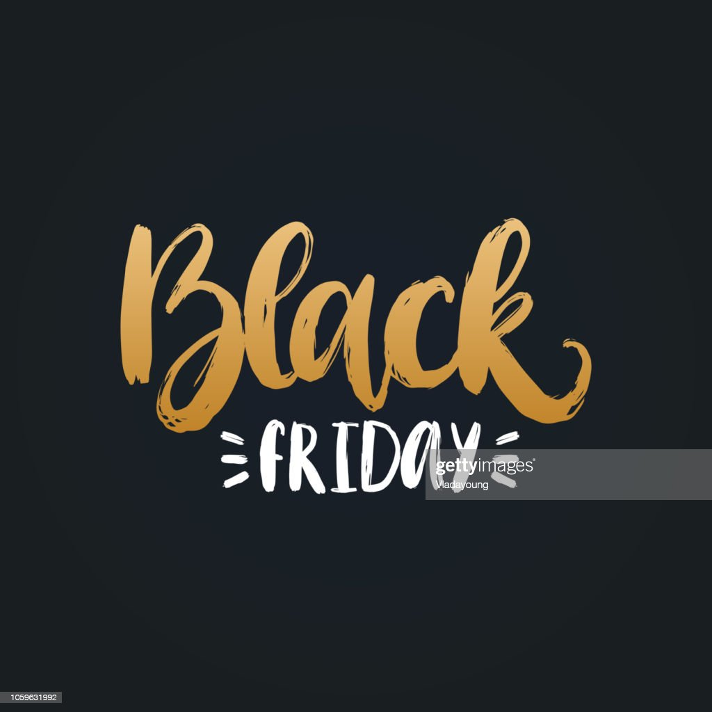 Black Friday, vector handwritten phrase. Calligraphy for sales poster, discount card, label or sticker.