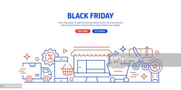 black friday web banner line style. modern design vector illustration for web banner, website header etc. - heading the ball stock illustrations