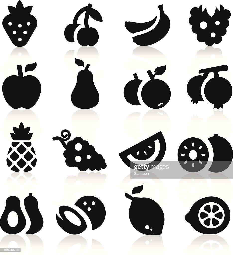 Black fruit icons on a white background