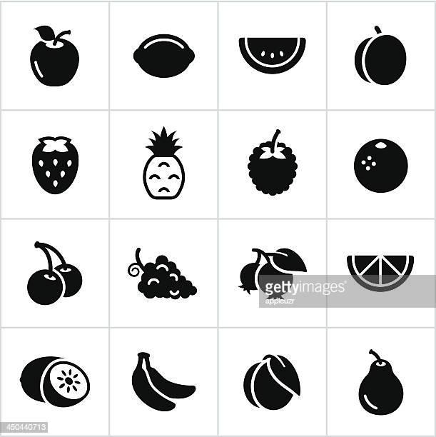 Noir icônes de fruits