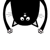 Black funny cat Head silhouette hanging upside down. Crazy eyes, teeth, tongue, hands. Cute cartoon character Baby collection. Happy Halloween. Flat design White background