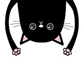 Black funny cat Head silhouette hanging upside down. Two eyes, teeth, tongue, hands. Cute cartoon character Baby collection. Happy Halloween. Flat design White background