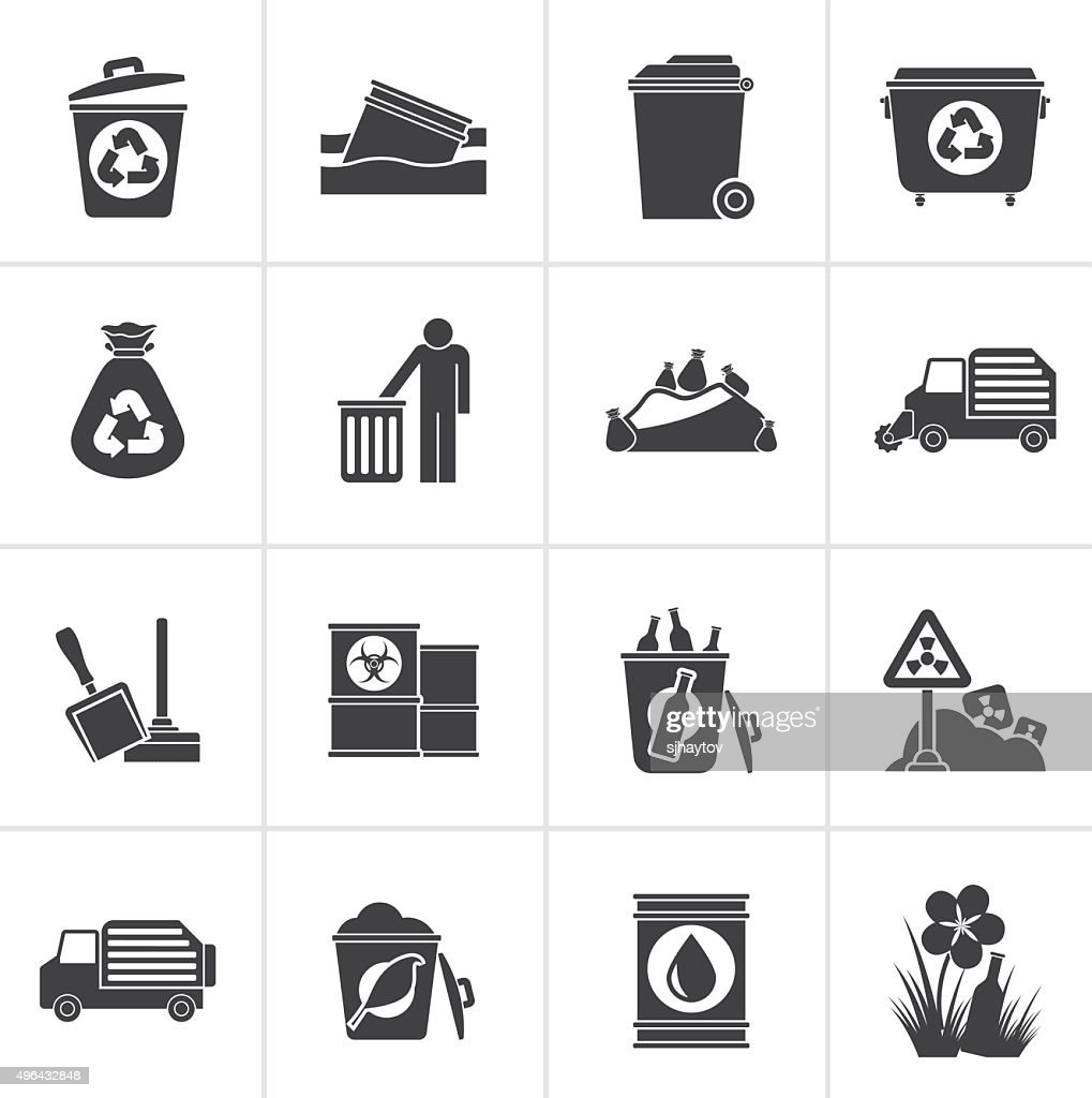 Black Garbage and rubbish icons