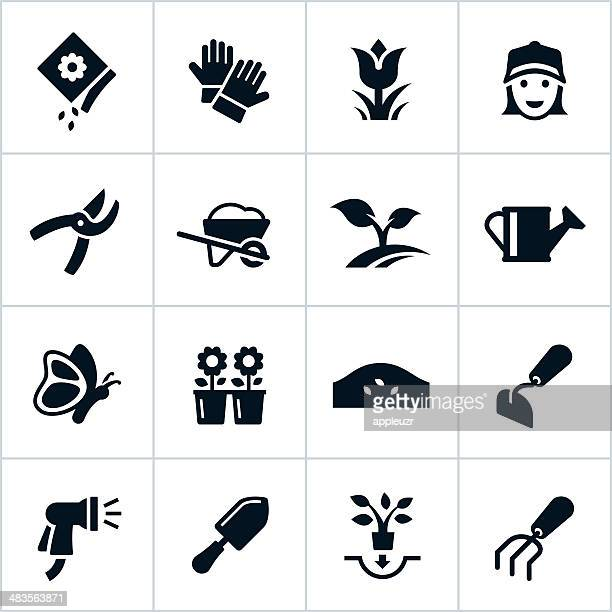 black gardening icons - landscape gardener stock illustrations, clip art, cartoons, & icons