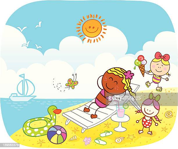 black girl with little children at beach cartoon