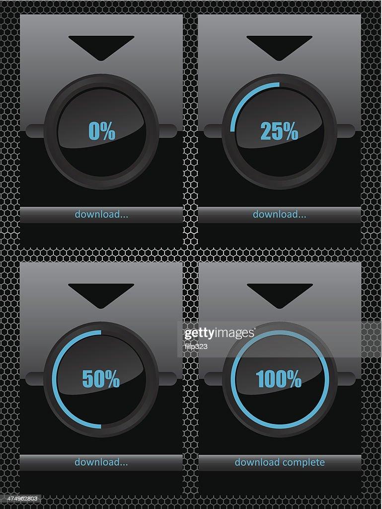 Black glass download progress bar