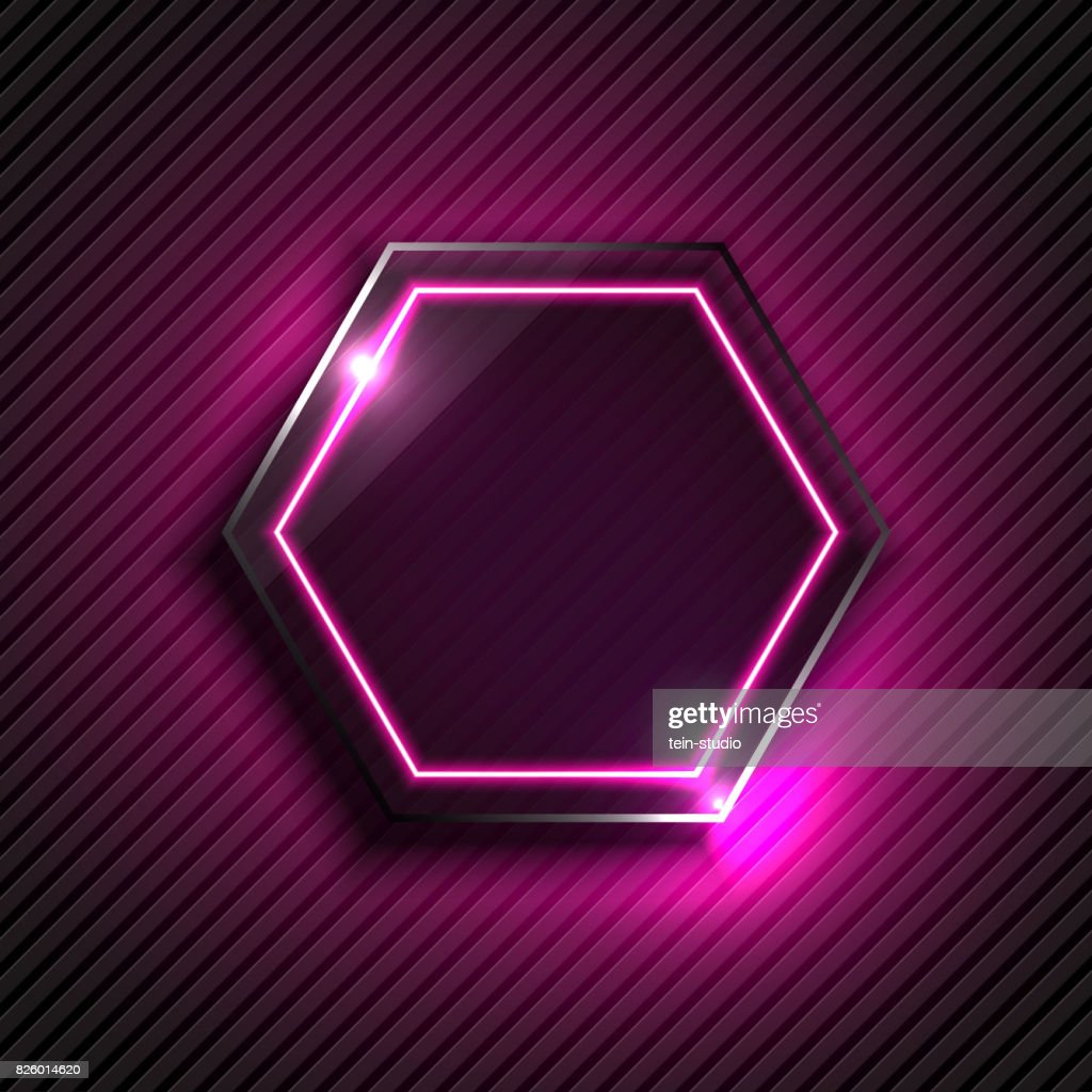 Black glass with neon light