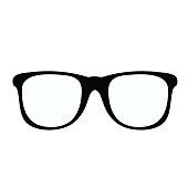 Black glasses icon on white element for design, stock vector illustration
