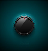 Black glossy interface button for volume control with reflect and shadow. Vector illustration. Sound icon, music knob with scale on turquoise plastic background