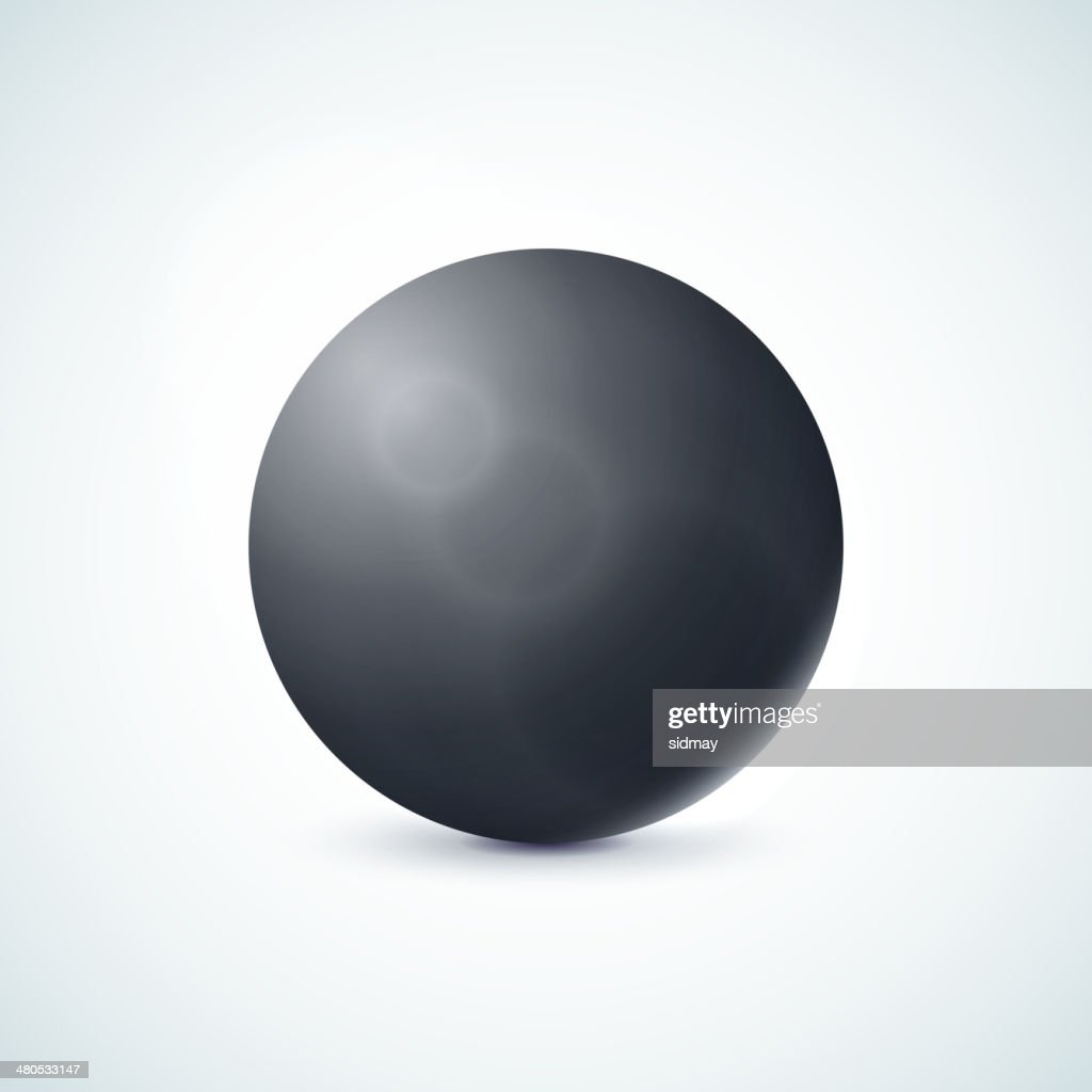 Black glossy sphere isolated on white : Vector Art