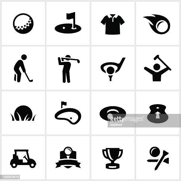 ilustrações de stock, clip art, desenhos animados e ícones de preto ícones de golfe - golf tournament