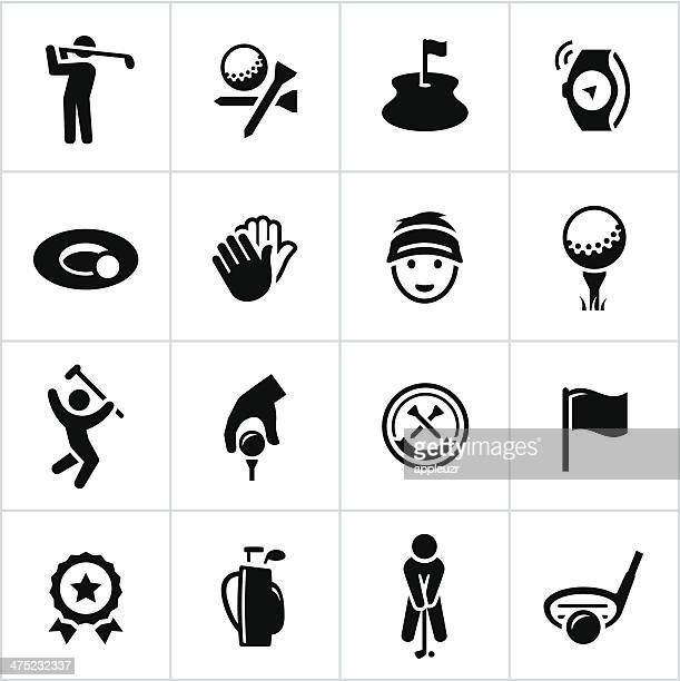 black golf icons - teeing off stock illustrations, clip art, cartoons, & icons