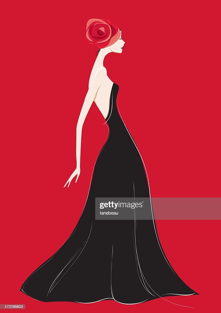 Black gown and a rose