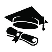Black graduation cap diploma icon