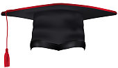 Black Graduation Cap with Red Tassel Isolated