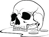 Black graphic drawing of the upper part of the human skull.