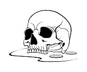 Black graphic drawing of the upper part of the human skull without the lower jaw with coins. Vector, isolated on background.