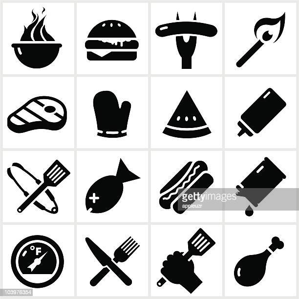 Black Grilling and BBQ Icons