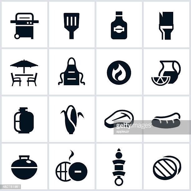 ilustraciones, imágenes clip art, dibujos animados e iconos de stock de iconos de barbacoa asar y negro - chuletón