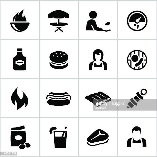 black grilling icons - t bone steak stock illustrations, clip art, cartoons, & icons