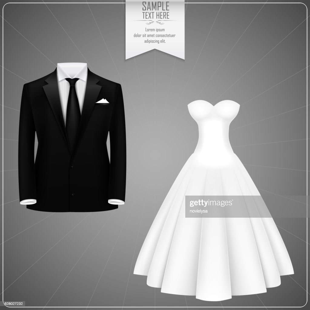 Black Groom Suits And White Bridal Gown Vector Art | Getty Images