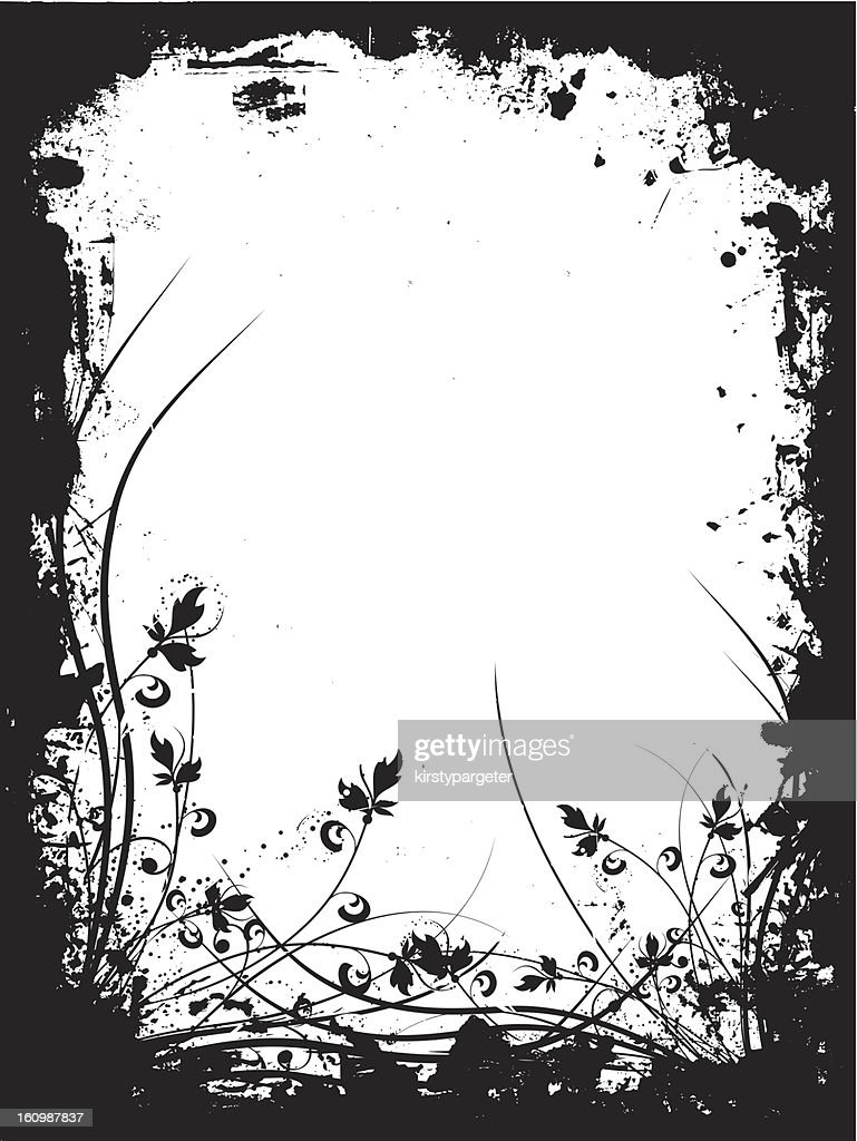 A black grunge floral border on a white background