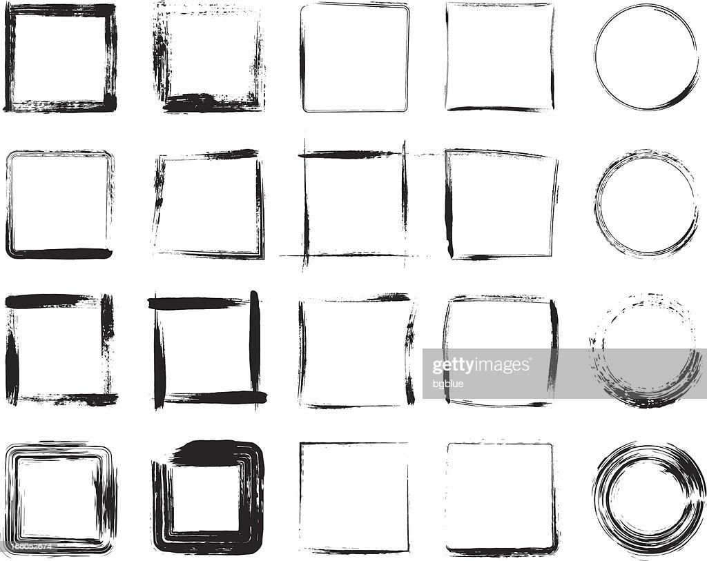 Black grunge frame icons designs