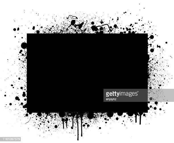 schwarzer grunge-rahmen - schwarz farbe stock-grafiken, -clipart, -cartoons und -symbole