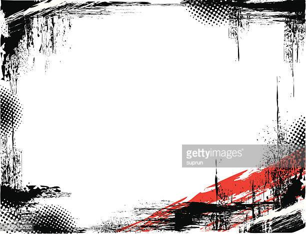 black grunge frame with a red accent in the right corner - rock music stock illustrations