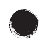 Black grungy vector abstract hand-painted circle. Vector illustration. Background