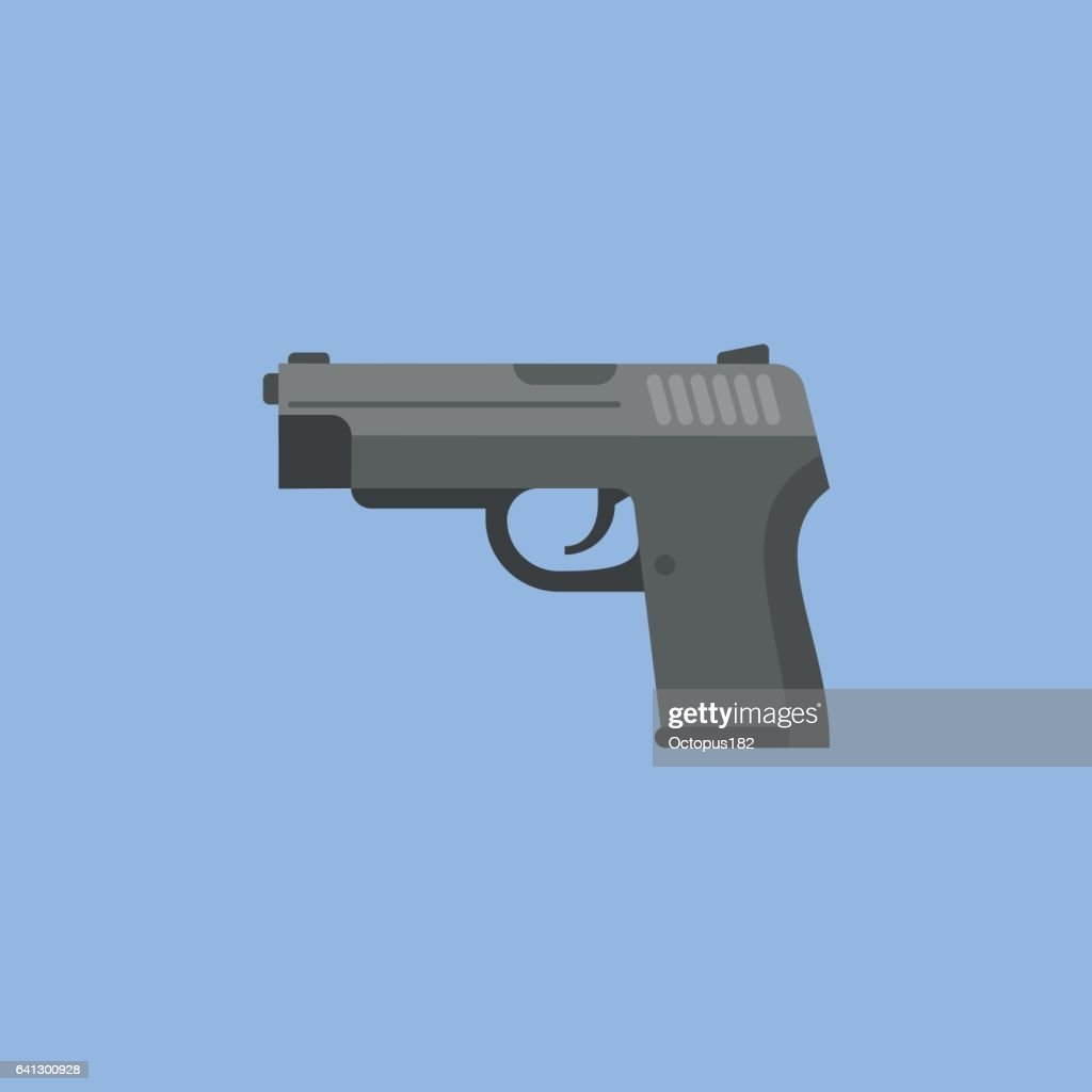 Black gun flat icon