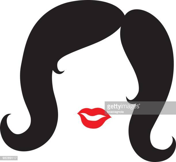 black hair and red lips - big hair stock illustrations