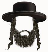 black  hair sidelocks with beard . mask wig jew hassid hat .