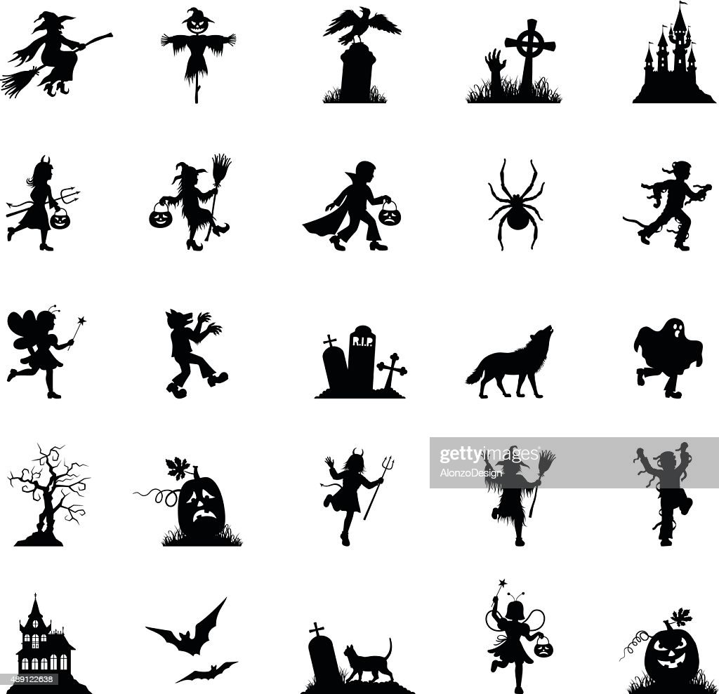 Black Halloween Icon Set