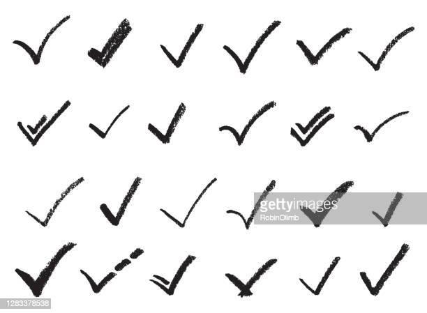 schwarze hand gezeichnet eschachzeichen - häkchen schriftsymbol stock-grafiken, -clipart, -cartoons und -symbole