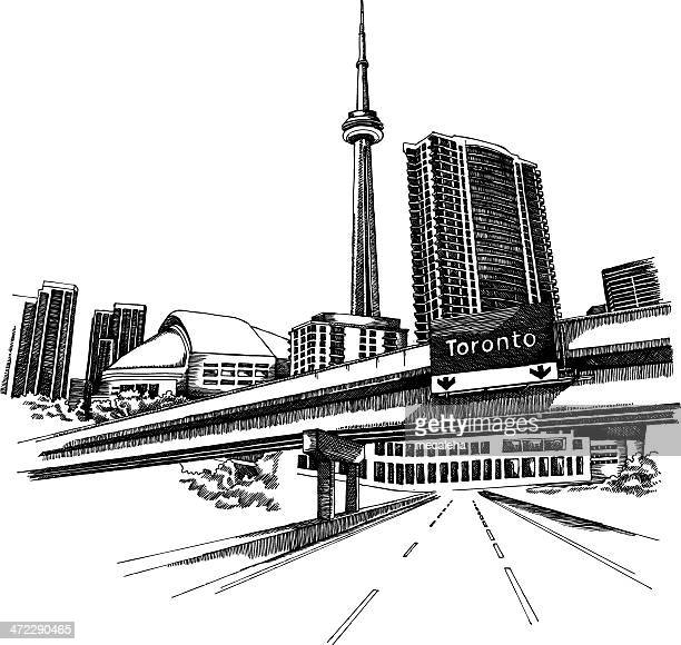 black hand drawn illustration of toronto cityscape - toronto stock illustrations