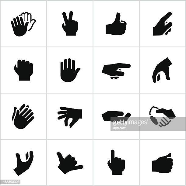 black hand gestures icons - gripping stock illustrations