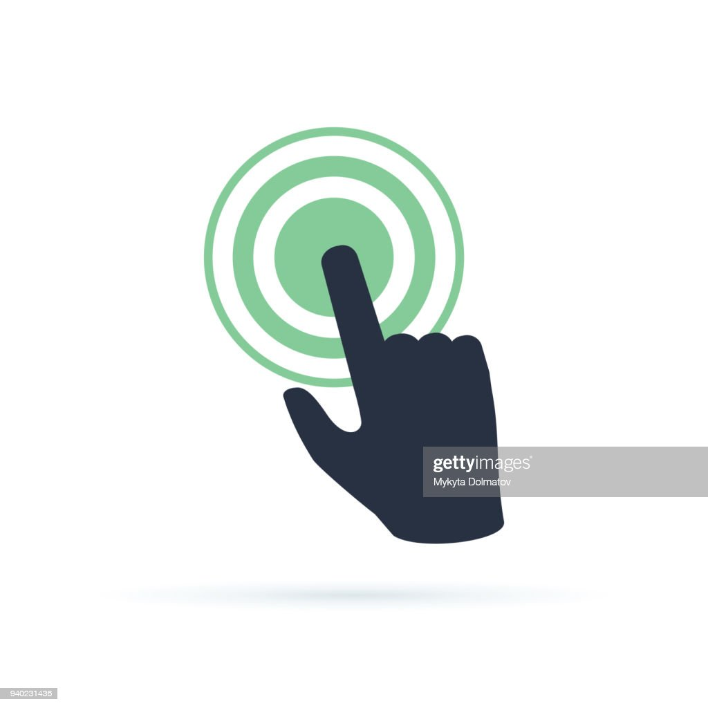 Black hand pushing on green button. Concept of new fast start up symbol or forefinger hit or tap