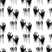 Black handprints seamless pattern
