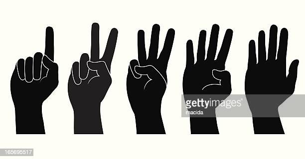 black hands counting from one to five on white background - counting stock illustrations